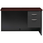 Hirsh Industries® Modular Steel Right Return Desk - 48 x 24 - Charcoal/Mahogany