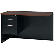 Hirsh Industries® Modular Steel Left Return Desk - 48 x 24 - Black/Walnut