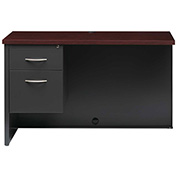 Hirsh Industries® Modular Steel Left Return Desk - 48 x 24 - Charcoal/Mahogany