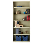 "Hirsh 6 Shelf Bookcase 34-1/2""W x 13""D x 82""H, Putty"