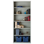 "Hirsh 6 Shelf Bookcase 34-1/2""W x 13""D x 82""H, Gray"