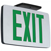 Hubbell CCEDG LED Die-Cast Thin Exit, Brushed Face, Black, Dual Face, Green Letters, AC Only