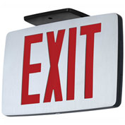Hubbell CCEDRE LED Die-Cast Thin Exit, Brushed Face, Black, Dual Face, Red Letters, w/Battery