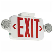 Hubbell CCRRC LED Combo Exit/Emergency Unit w/ Remote Capacity, Red Letters, White, Ni-Cad Battery