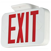 Hubbell CER LED Exit Sign, Red w/ White Housing, Battery Back-up