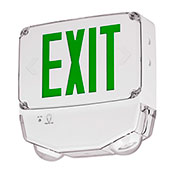 Hubbell CWC2GW-CT LED Combo Exit/Emerg Light, Wet Listed, Green Letters, White, Dual Face, Cold Temp