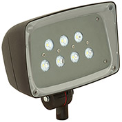 Hubbell FSL-7 Architectural LED Floodlight, Bronze, Tempered Glass, Knuckle Mount, 448L -26W, 5000K