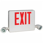 Hubbell HCXURWRC12 Designer LED Combo Exit/Emergency Unit, Remote Capacity, White, Red Letters