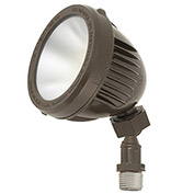 Hubbell MBUL-1L3K-1 Mini LED Bullet, 13.2 W, 1100L, 3000K, Glass Lens, Bronze, NEMA 3R, IP65, DLC