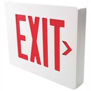 Hubbell SESRWN Die Cast Aluminum Exit Sign, White Brushed w/Red Letters, Single Face, Damp Listed