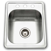 Houzer 1722-7BS-1 Drop In Stainless Steel 3-Holes Bar/Prep Sink