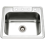 Houzer 2522-9BS4-1 Drop In Stainless Steel 4-Hole Single Bowl Kitchen Sink