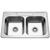 Houzer 3322-8BS3-1 Drop In Stainless Steel 3-Holes 50/50 Double Bowl Sink