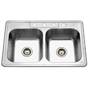 Houzer 3322-8BS4-1 Drop In Stainless Steel 4-Holes 50/50 Double Bowl Sink