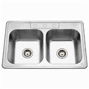 Houzer 3322-9BS3-1 Drop In Stainless Steel 3-Holes 50/50 Double Bowl Sink