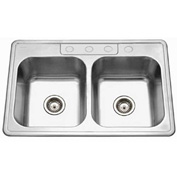 Houzer 3322-9BS4-1 Drop In Stainless Steel 4-Holes 50/50 Double Bowl Sink
