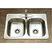 Houzer A3322-65BS3-1 ADA Drop In Stainless Steel 3-Hole 50/50 Double Bowl Sink