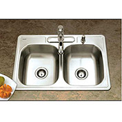 Houzer A3322-65BS4-1 ADA Drop In Stainless Steel 4-Hole 50/50 Double Bowl Sink