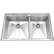 Houzer BCD-3322 Zero Radius Drop In Stainless Steel 50/50 Double Bowl Sink