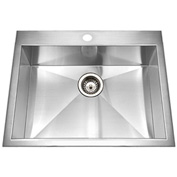 Houzer BCS-2522 Zero Radius Drop In Stainless Steel Single Bowl Kitchen Sink