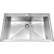 Houzer BLS-3322 Zero Radius Drop In Stainless Steel 1-Hole Large Single Bowl