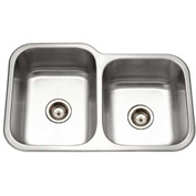 Houzer EC-3208SR-1 Undermount Stainless Steel 60/40 Double Bowl Kitchen Sink