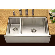 Houzer EPO-3370SL Apron Front Farmhouse Stainless Steel 70/30 Double Bowl Sink