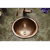 Houzer HW-CLA1RS Hammerwerks Classic Drop In Copper Bathroom Sink, Antique Copper
