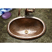 Houzer HW-EL1ES Hammerwerks Ellipse Drop In Copper Lavatory Sink, Antique Copper