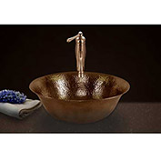 Houzer HW-SIE1V Hammerwerks Copper Single Bowl Lavatory Vessel Sink, Antique Copper