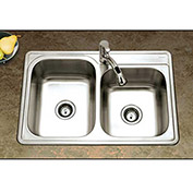 Houzer ISL-3322BS1-1 Drop In Stainless Steel 1-Hole 60/40 Double Bowl Sink