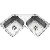 Houzer LCR-3221-1 Drop In Stainless Steel 4-Hole Corner Bowl Kitchen Sink