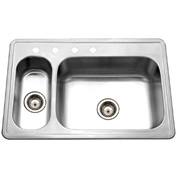 Houzer LHD-3322-1 Top mount Stainless Steel 4-Hole 70/30 Double Bowl Sink
