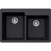 Houzer M-175 MIDNITE Granite Drop In 60/40 Double Bowl Kitchen Sink, Black