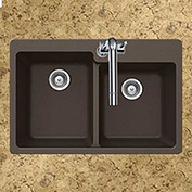 Houzer M-175 MOCHA Granite Drop In 60/40 Double Bowl Kitchen Sink, Mocha