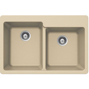 Houzer M-175 SAND Granite Drop In 60/40 Double Bowl Kitchen Sink, Sand