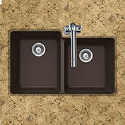 Houzer M-175U MOCHA Granite Undermount 60/40 Double Bowl Kitchen Sink, Mocha