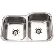 Houzer MEC-3220SL-1 Undermount Stainless Steel 60/40 Double Bowl Kitchen Sink