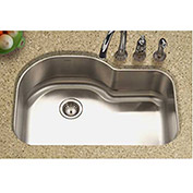 Houzer MH-3200-1 Undermount Stainless Steel Offset Single Bowl Kitchen Sink