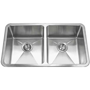 Houzer NOD-4200 25mm Radius Undermount Stainless Steel 50/50 Double Bowl Sink