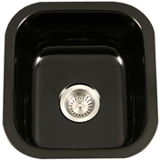 Houzer PCB-1750 BL Porcelain Enamel Steel Undermount Bar/Prep Sink, Black