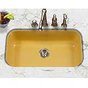 Houzer PCG-3600 LE Porcelain Enamel Steel Undermount Large Single Bowl, Lemon