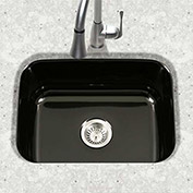 Houzer PCS-2500 BL Porcelain Enamel Steel Undermount Single Bowl, Black