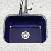 Houzer PCS-2500 NB Porcelain Enamel Steel Undermount Single Bowl, Navy Blue
