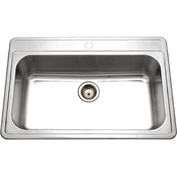 Houzer PGS-3122-1-1 Drop In Stainless Steel 1-Hole Large Single Bowl Sink