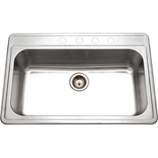 Houzer PGS-3122-4-1 Drop In Stainless Steel 4-Hole Large Single Bowl Sink