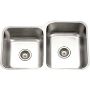 Houzer PNE-3300SL-1 Undermount Stainless Steel 60/40 Double Bowl Kitchen Sink