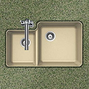 Houzer S-175U SAND Granite Undermount 70/30 Double Bowl Kitchen Sink, Sand