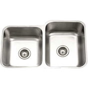 Houzer STE-2300SL-1 Undermount Stainless Steel 60/40 Double Bowl Kitchen Sink