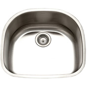 Houzer STS-1400-1 Undermount Stainless Steel Single D Bowl Kitchen Sink